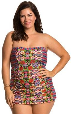 Jessica Simpson Plus Size Folkloric Front Shirred Bandeau Swimdress 8124034 #swimsuit #plus #womens
