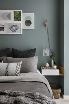 Gray and Sage Green Bedroom. Gray and Sage Green Bedroom. Gray and Sage Green Bedroom Gray and Sage Green Bedroom Interior Design Bedroom, Scandinavian Design Bedroom, Bedroom Colors, Bedroom Green, Green Bedroom Design, Small Bedroom, Modern Bedroom, Sage Green Bedroom, Bedroom Wall