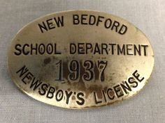 1937 Newsboy's Newsboy License, New Bedford School Department