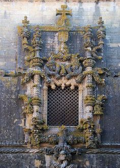 The window of the Convent of Christ in Tomar, Portugal, an example of Manueline style architecture