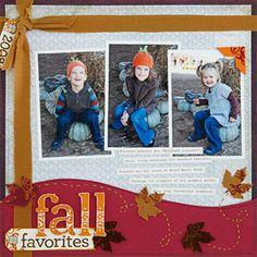 Stitch and Stamp on a Fall Scrapbook Page       http://www.scrapbooksetc.com/theme/season/fall/fall-scrapbook-layout-ideas/?page=8