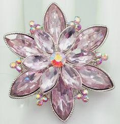 Pale Pink Floral Ring/Rhinestone/Aurora by victoriascharms on Etsy