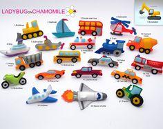 VEHICLES and TRANSPORTATION felt magnets - Price per 1 item- make your own set - Car,Bike,Train,Submarine,Space shuttle,Truck,Ship,Bulldozer