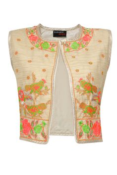 Beige charkhi embroidered bird jacket set available only at Pernia's Pop-Up Shop.