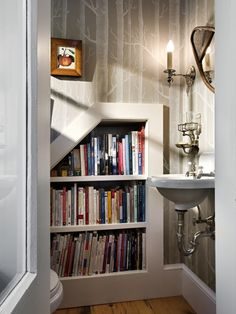 reading material in the bathroom!....awesome idea. Natural Bathroom Design Design, Pictures, Remodel, Decor and Ideas - page 10