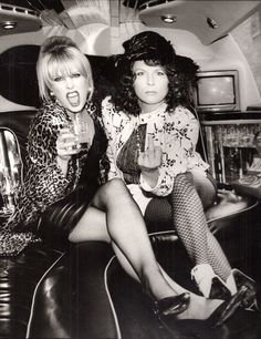Patsy Stone & Edina Monsoon in Ab Fab (Joanna Lumley & Jennifer Saunders) I love these ladies! They crack me up. Jennifer Saunders, Joanna Lumley, Patsy And Eddie, Edina Monsoon, Patsy Stone, Ab Fab, British Comedy, British Humor, Absolutely Fabulous