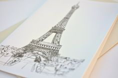 Eiffel Tower  blank greeting card Paris by Prints4Francophiles
