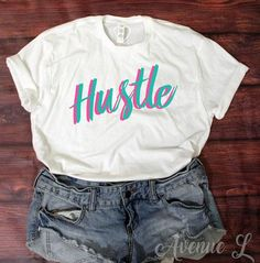Hustle Retro Tee - 80's style vintage graphic tee.    Vintage Graphic Tees. Our tees are super soft and cozy. You will want to live in them! Check out our other graphic tees and items here:  www.theavenuel.com    We have tons of graphic tee for women, gra
