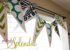 Positively Splendid {Crafts, Sewing, Recipes and Home Decor}: Pennant Valance and Drape Tutorial