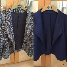 New make to me, Grainline Morris Blazer. First one in a medium weight jersey (possibly a ponte) from @sewoveritlondon second one in boiled wool. Really pleased with both of these, @lisacomfort recent review helped with fabric choices sleeve lengths etc. I'll be making more of these but fabric choice is definitely key to success #morrisblazer #sewoverit #grainlinestudiomorrisblazer,sewoverit,grainlinestudiosukinney