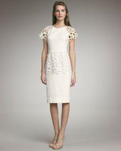 Lela Rose White Lacedetailed Dress