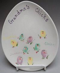 Easter DLP Ceramic Plate ~ Thumb prints to make the chick bodies & decorate. Great activity for parents to do with young children. http://desertlightpottery.com