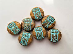 Owls, 6pcs - 13mm - Owl Beads - Czech Glass Owl - Czech Glass Beads - Owl Coin - Coin Beads - Glass Focal Bead by Myladyadorned on Etsy