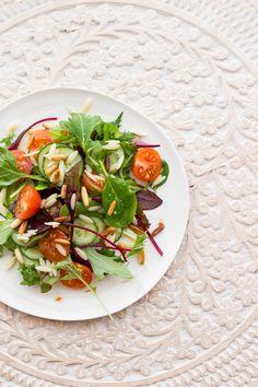 Fried Okra Salad w/ Sweet Tomatoes, Peppers  Lemon-Honey