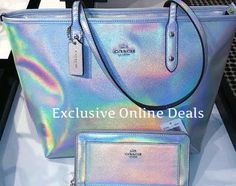 Coach City Zip Tote in Hologram Leather Iridescent With Matching Wallet Set WOW! #Coach #TotesShoppers