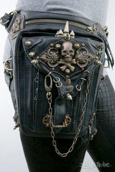 Cintura de cuero Rocker calavera y funda bolso por JungleTribe