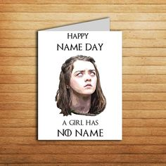 Game of Thrones Birthday Card Arya Stark #gameofthrones #birthday #card #arya #stark #printable #happy #nameday #gift #friend #daughter #girlfriendgift #valarmorghulis #nottoday #instant #download #boyfriend