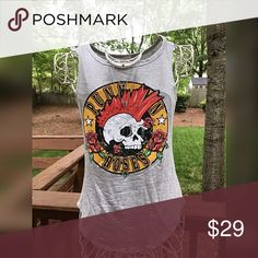 Adorable rock tee! More photos coming- super cute skull graphic- true to size Tops Tank Tops
