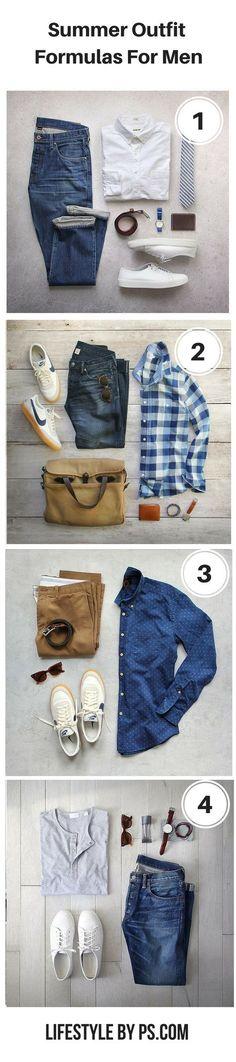 Idée et inspiration look d'été tendance 2017 Image Description Summer Outfit Formula For Men #mens #fashion #outfitgrid