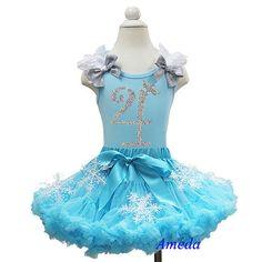 Turquoise Blue Pettiskirt Elsa Princess Tee Number 1st -8th Birthday Party Dress