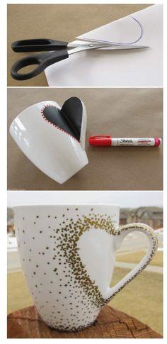 DIY Gift: Heart Decorated Mug