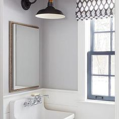 White and Gray Cottage Bathroom with Kohler Gilford Sink