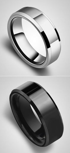 White & Black His and Hers Tungsten Wedding Rings Set @ iDream-Jewelry.Com