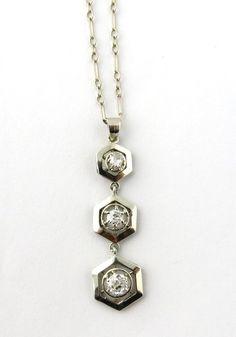 Vintage 14K White Gold Old Miner Diamond 3 Hexagon Pendant Necklace