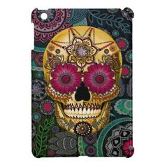 Sugar Skull Paisley Garden - Day of the Dead Art iPad Mini Cover