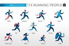 Running People - Vector World by Hurca! Wow Vector Art on @creativemarket