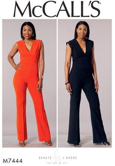Deep V-Neck Jumpsuit Pattern McCall's Sewing Pattern 7444