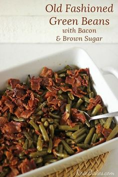 Old Fashioned Green Beans with Bacon, Soy Sauce & Brown Sugar for a Crowd! This delicious green bean casserole has a sweet soy sauce & crispy salty bacon! Soy Sauce Green Beans, Oven Green Beans, Baked Green Beans, Green Beans With Bacon, Green Beans Brown Sugar, Green Bean Recipe With Soy Sauce, Easter Green Bean Recipe, Green Bean Recipie, Ribs