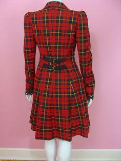 Betsey Johnson Woven Tartan Coat Red Plaid Runway Jacket Seen on Glee | eBay
