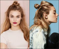 Half Up Half Down Top Knots Best For Summer Time | messy half bun