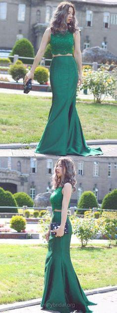 Two Piece Prom Dresses Green, Long Party Dresses Mermaid, Scoop Neck Lace Satin Formal Evening Gowns Sequins