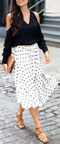 #summer #classy #outfits |  Black Top + White Fowy Skirt