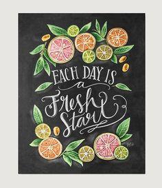 """Each Day is a Fresh Start"" . Kitchen Chalkboard Art - Chalk Art - Kitchen Art - Chalkboard Art - Fresh Start- Motivational Print - Kitchen Print - Hand Lettered Art EUR plus shipping Summer Chalkboard Art, Blackboard Art, Chalkboard Print, Chalkboard Lettering, Chalkboard Designs, Chalkboard Art Kitchen, Chalkboard Ideas, Kitchen Prints, Kitchen Art"