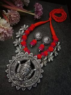 Oxidized Jewellery Indian jewelry, traditional Jewelery, Ma Durga thread necklace boho necklace,Temple Necklace With Earrings German silver - jewelry - Silver Jewellery Indian, Silver Jewelry, Silver Earrings, Silver Anklets, Bling Jewelry, Jewelry Rings, Hoop Earrings, Horseshoe Necklace, Boho Necklace