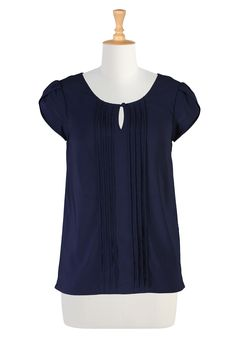 Deep Navy Crepe Tops, Pintuck Pleated Tunic Tops Shop Women's Fashion - Tunic Tops - Shop women's short sleeve tops - | eShakti
