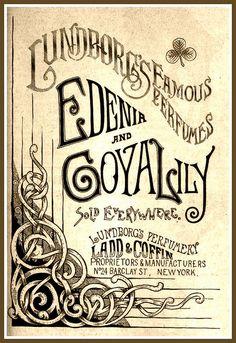 Vintage Victorian Advert for Lundborg's Edenia & Goya Lily Perfumes 1889