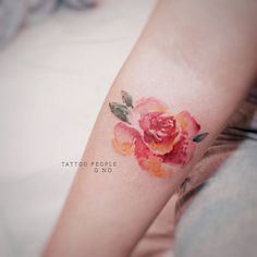 lovely watercolor rose tattoo by @gnotattoo • 425 likes