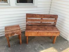 #Garden, #PalletBench, #PalletTable, #RecyclingWoodPallets I made a bench and a table made mostly out of used pallets.