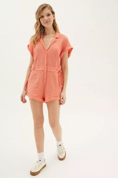 Out From Under Rosie Romper | Urban Outfitters Canada Urban Outfitters, Revere Collar, Top Gifts, Playsuit, Latest Fashion, Peach, Short Sleeves, Rompers, Fitness