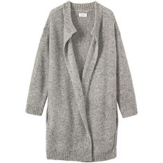 Toast Mohair Tweed Knit Coat (£87) ❤ liked on Polyvore featuring outerwear, coats, jackets, cardigans, grey melange, tweed coats, wrap coat, grey tweed coat, belted wrap coat and collarless coats