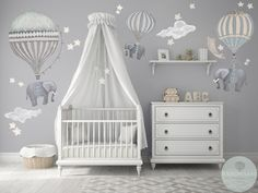 Med Set 3 Elephants Hot Air Balloons Neutral 2 Clouds stars moon nursery baby hand painted look movable fabric Wall decals Baby Nursery Decor, Baby Decor, Moon Nursery, Clouds Nursery, Whimsical Nursery, Budget Nursery, Elephant Nursery Decor, Baby Room Wall Decor, Baby Bedroom Ideas Neutral