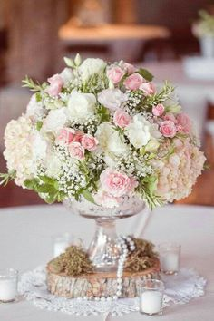Shabby chic blush pink and white rose, hydrangea, and baby's breath floral arrangement for rustic vintage wedding centerpiece Floral Wedding, Wedding Bouquets, Wedding Flowers, Wedding Vintage, Trendy Wedding, Vintage Pink, Wedding Rustic, Vintage Flowers, Vintage Lace