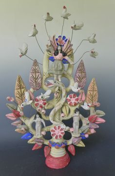 Vintage Metepec tree of life with Adam, Eve and the ever-present serpent!