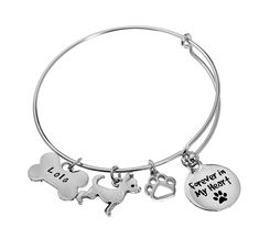 A unique jewelry piece for memorializing a lost dog. Customize the bracelet by adding dog breed charms and engraved dog names. Dog Jewelry, Animal Jewelry, Unique Jewelry, Jewelry Design, Pet Memorial Jewelry, Dog Memorial, Heart Bracelet, Bracelets, Losing A Dog