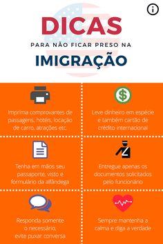 Infográfico com dicas básicas para a imigração nos EUA