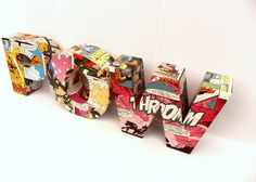 """Comic Book """"POW"""" 3D Freestanding Letters, via Roseberry Store, Etsy. (could copy this)"""